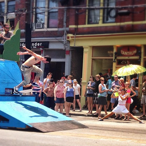 skateboarding parade float.