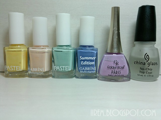 Soldan sağa ; Pastel 308 , Gabrini 307 , Pastel 83 , Gabrini M109 , Golden Rose 221, China G. Top Coat