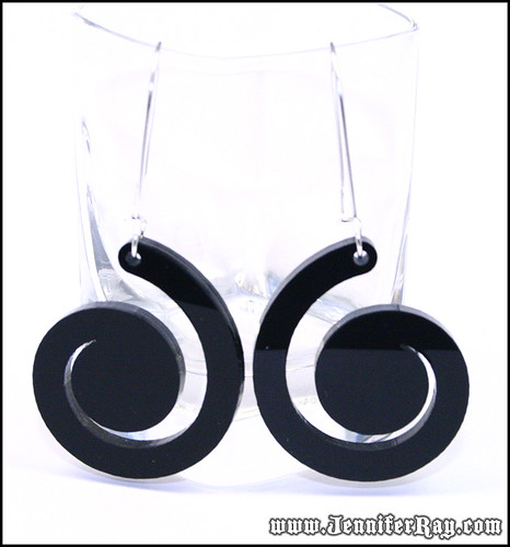 Black Swirl Lasercut Acrylic Earrings by JenniferRay.com