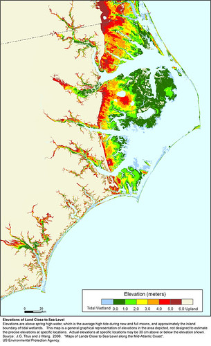 effects of sea level rise on coastal NC (by: US EPA)