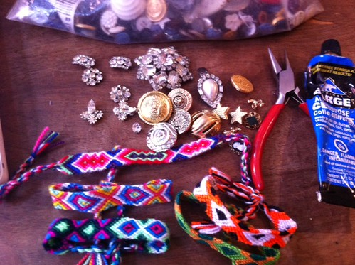 gathering friendship bracelet making supplies