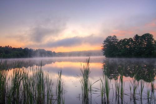 morning lake sunrise pond steam pratt