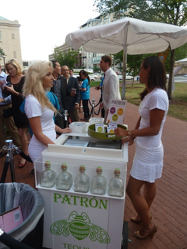 Attendees were given Patron popsicles to help beat the heat while waiting in line