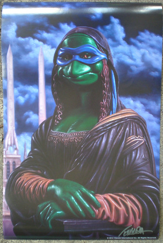 """Ron English's """"LEONARDO as MONA LISA"""" ; SDCC Exclusive Poster - Signed by RON  i ((  2012 ))"""