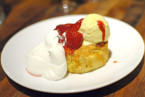 fresh corn cake with sweet rose creamery corn ice cream and strawberry rhubarb compote