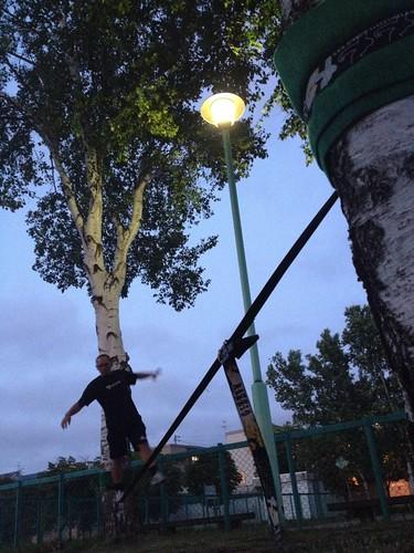 街灯の明かりで夜ツナ