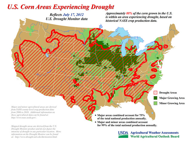 Approximately 88% of the corn grown in the U.S. is within an area experiencing drought, based on historical NASS crop production data.
