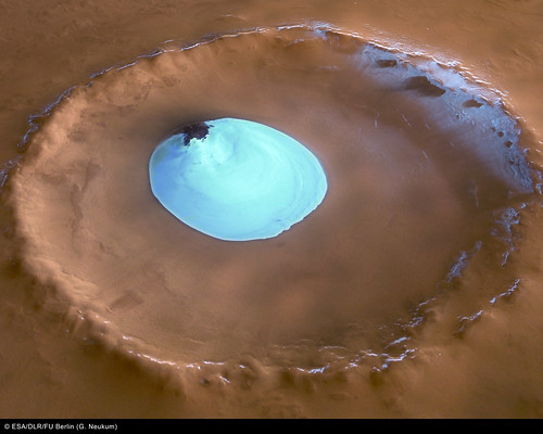Crater Water Ice on Mars (ESA, Mars, 2005)