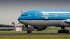 KLM 777-200ER thundering down the runway on it's way to New York