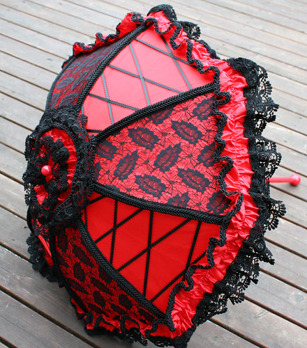red parasol black lace 3
