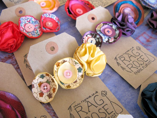 Beautiful fabric blooms by Rag Rose at The Market, April 28th 2012 | Emma Lamb