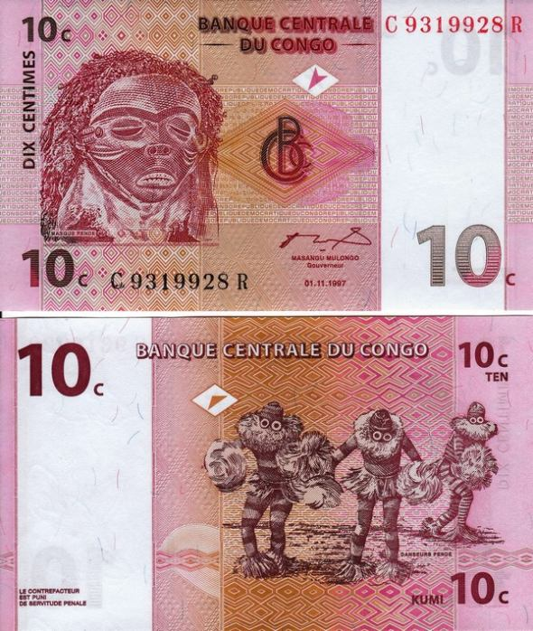 10 Centimes Kongo Dem.Rep. 1997, Pick 82