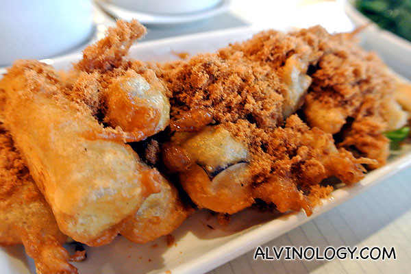 Fried brinjal with pork floss