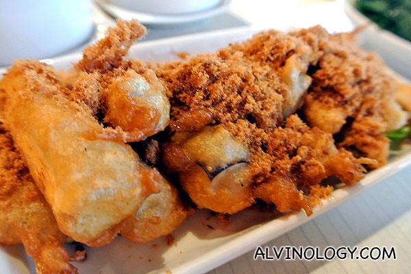 Fried brinjal with pork floss