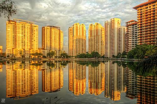 sunset lake golden waterfront hour ria hdr subang subangjaya photomatix detailsenhancer