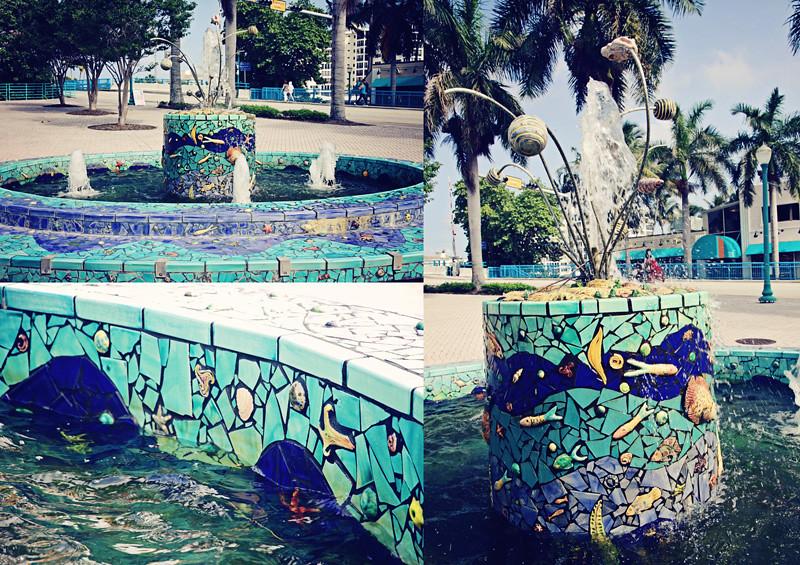 Delray Beach fountain triptych
