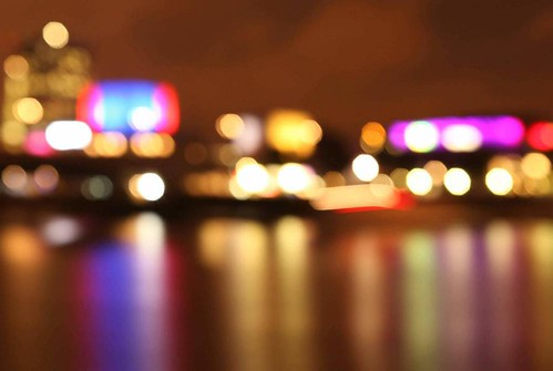 'Southbank Bokeh'. Out of focus lights on the Londons South Bank Arts Complex.