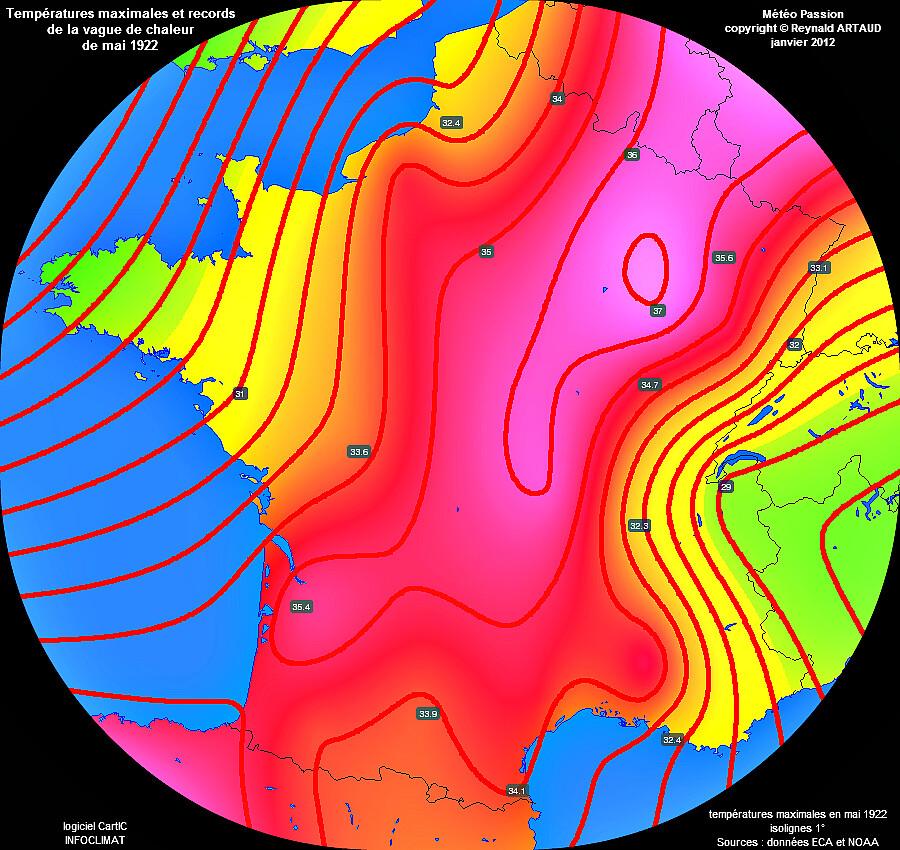 températures maximales absolues et records de chaleur du mois de mai 1922 météopassion