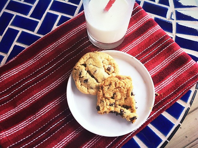 Overhead of Chocolate Chip Cookies and Milk
