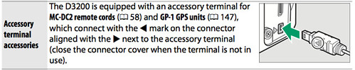 Accessory terminal on the Nikon D3200, as described on page 193 of the Nikon D3200 Manual