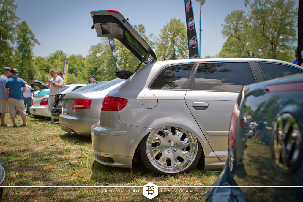 silver b8 audi a3 4 door on airride and rotiforms at southern worthersee 2012