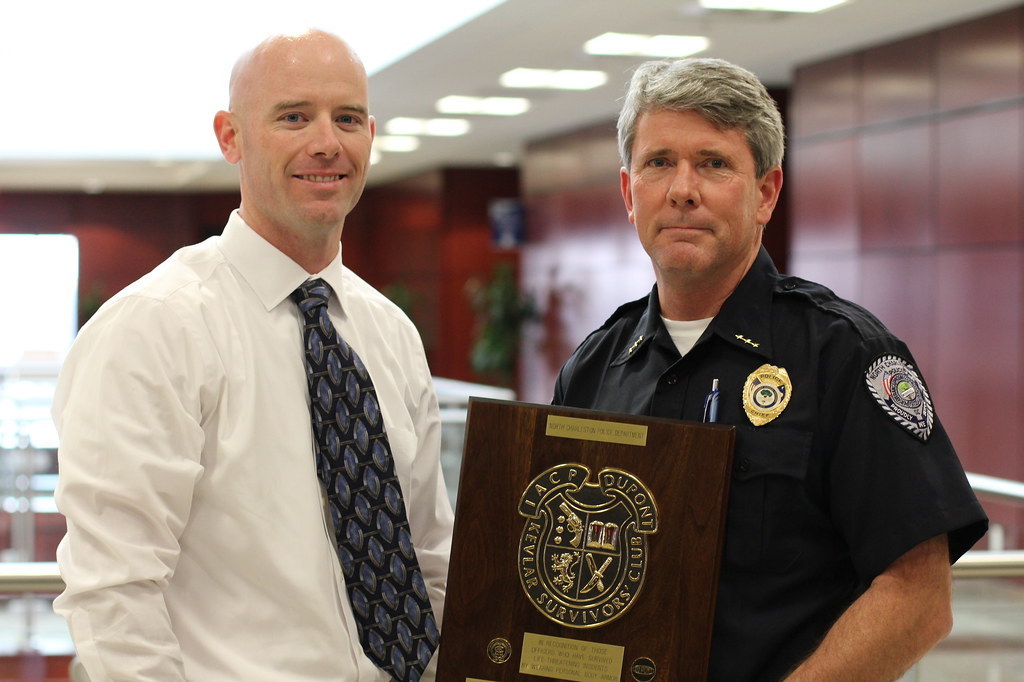 Officer David Winslette with Chief Zumalt after receiving Purple Heart Award
