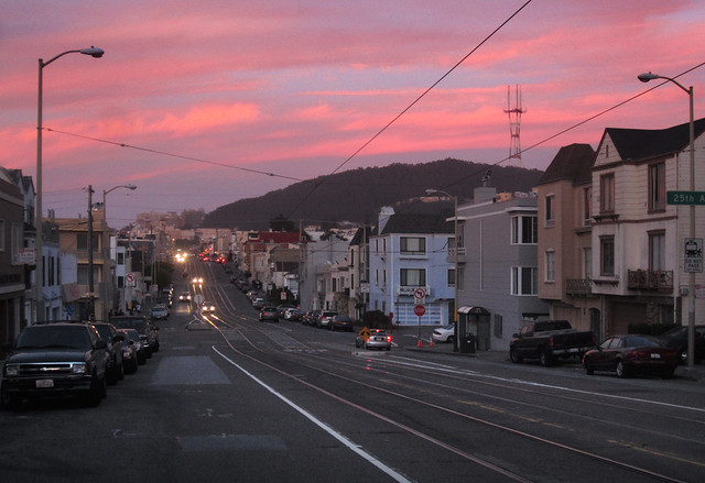 Mount Sutro Open Space Reserve POV Judah St at 26th, sunset; The Sunset, San Francisco (2012)