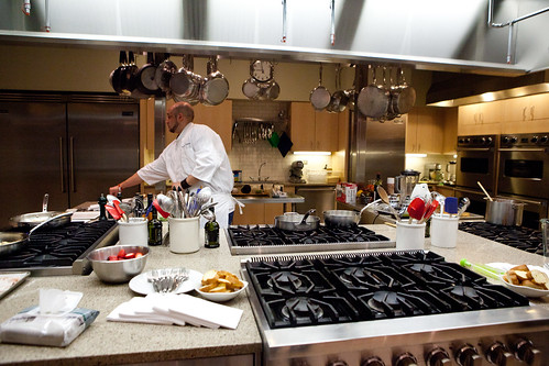 Prepping at Chef Chris Nirschel's cooking class