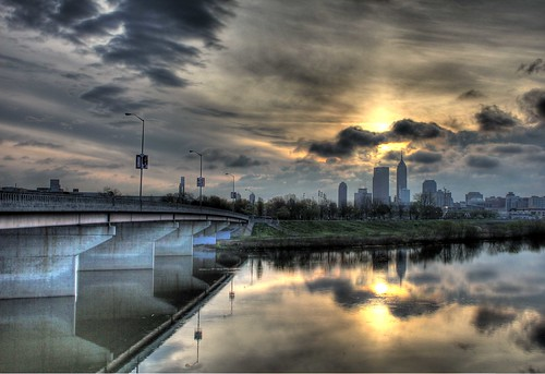street city bridge sky lake reflection rain clouds river landscape grey downtown moody indianapolis hdr