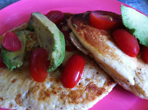 Protein Goji Berry Pancake (Sandwich) with Avocado and Grape Tomato