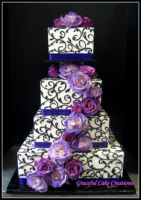 Elegant purple and black square wedding cake a photo on flickriver