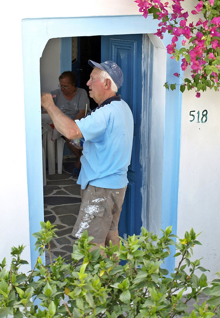 Pintando la puerta