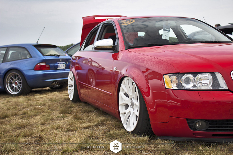 red b6 audi a4 white miro 111 wheels  at euro hanger 2012 Michigan 3pc wheels static airride low slammed coilovers stance stanced hellaflush poke tuck negative postive camber fitment fitted tire stretch laid out hard parked seen on klutch republik