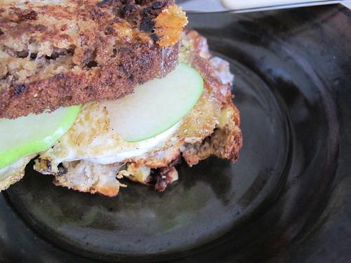 Banana Bread, Egg, Cheese and Apple Sandwich
