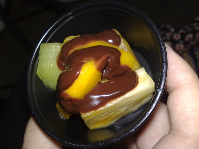 Pineapple, kiwi, and mango with chocolate sauce | Flickr - Photo ...