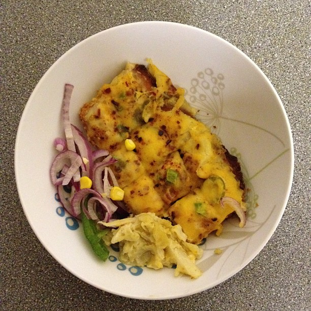 Last nights left over, pizza style chicken, creamy cabbage, salad ant there were chips but I ate those last night