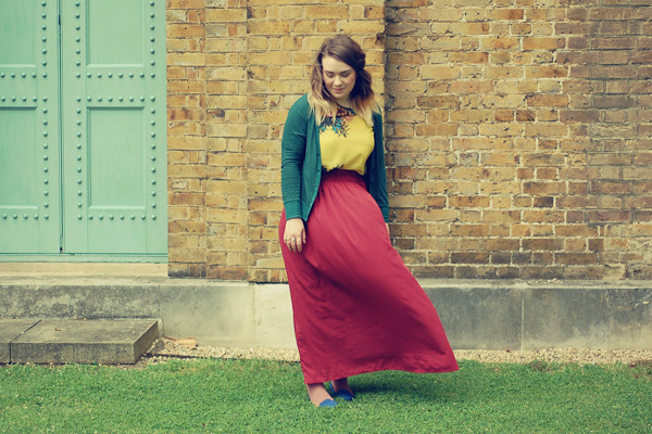 Wardrobeblock : Primark yellow palm tree sheer top burgundy maxi skirt Urban Outfitters green cardigan