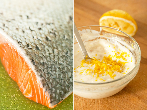 Salmon and Cilantro-Yogurt Sauce