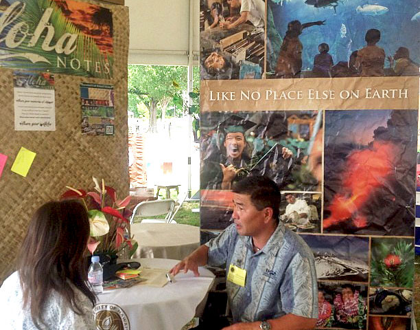 <p>University of Hawaii Foundation Associate Vice President Alvin Katahara at the UH alumni exhibit at the Smithsonian Folklife Festival.</p>