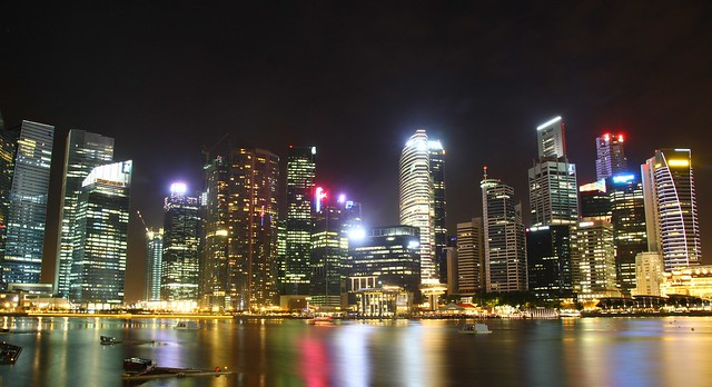 Singapore City Night View From Marina Bay Sands