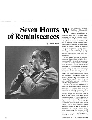 Seven Hours of Reminiscences with Edward Teller