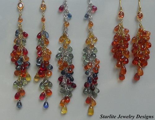 Briolette Sapphire Earrings ~ Fancy Multi Colored Sapphires ~ Briolette Earrings