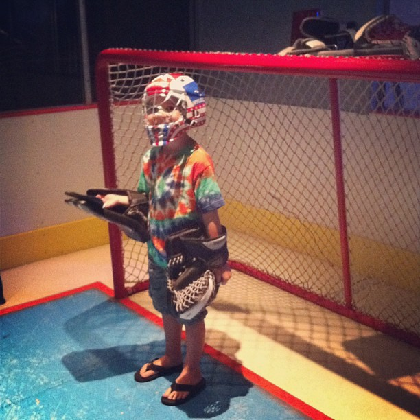 Playing goalie today @DiscoveryCube. #wildsummer