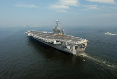 YOKOSUKA, Japan (July 26, 2012) USS George Washington (CVN 73) transits through Tokyo Bay as it returns to Fleet Activities, Yokosuka, Japan. (U.S. Navy photo by Mass Communication Specialist 2nd Class Cody R. Boyd)