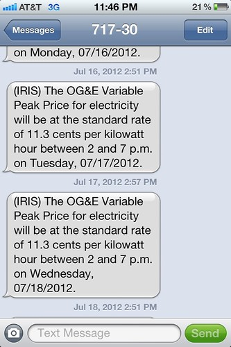 OG&E Smart Hours Alert: 11.3 cents