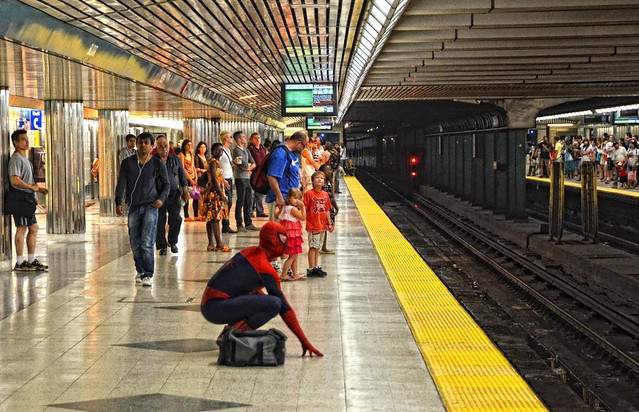 Spiderman at Bloor Station