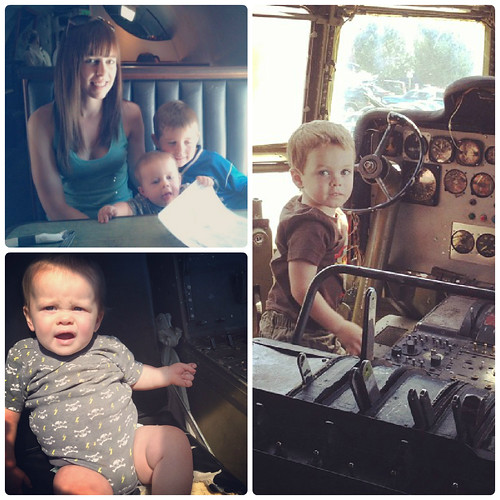 Amanda Livesay and kids at The Airplane Restaurant in Colorado Springs