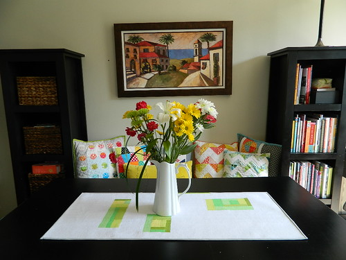 improv pieced table runner