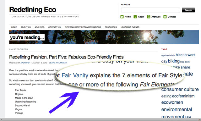 Redefining Eco, fair vanity fair trade, as featured on, fabulous eco finds