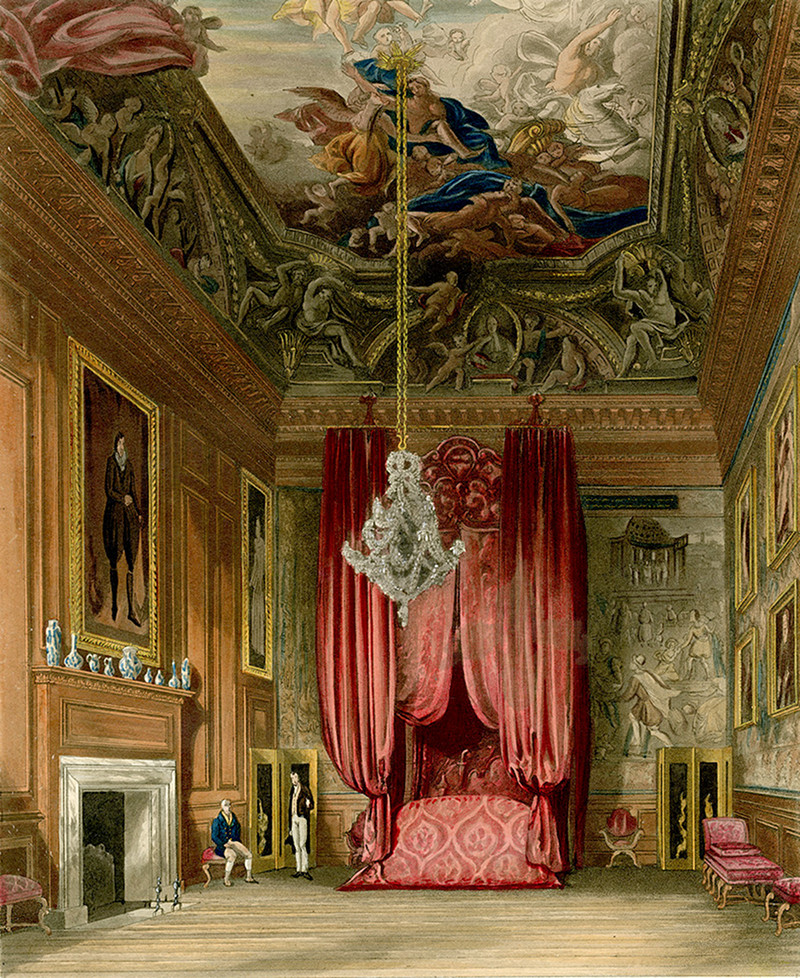 A view of Queen Mary's State Bedchamber at Hampton Court Palace